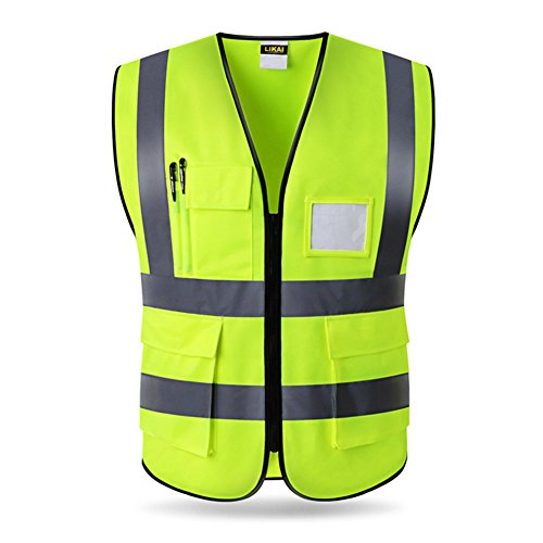 High Visibility Zipper Front Safety Vest with Reflective Strips,Yellow Meets ANSI/ISEA Standards by AIFUSI
