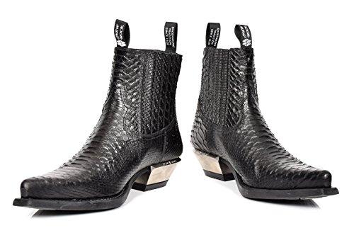Schlangenhaut Drucken Stiefeletten Aus Echtem Leder New Rock Black Retro Lässig Spitzschuh Schuhe - A17953S4