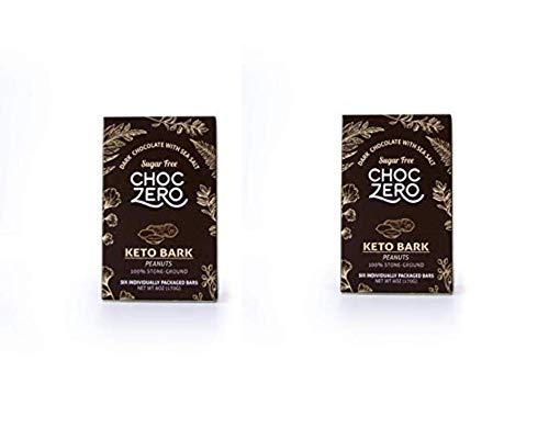 ChocZero's Keto Bark, Dark Chocolate Peanuts with Sea Salt. 100% Stone-Ground, Sugar Free, Low Carb. No Sugar Alcohols, No Artificial Sweeteners, All Natural, Non-GMO (6 bars/box) (2 Pack)