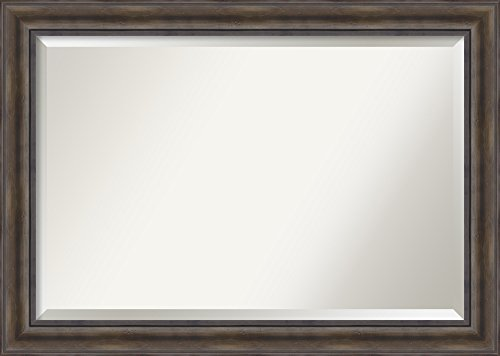 Amanti Art Framed Rustic Pine Solid Wood Wall Mirrors, Glass Size 36x24,