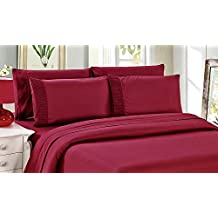 Bamboo Living Eco Friendly Egyptian Comfort Bedding 6 Piece Sheet Set (w/4 Pillowcases) (Red, Twin)
