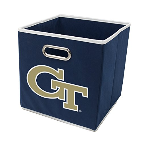 (Franklin Sports Georiga Tech Yellow Jackets Collapsible Storage Bin - Made to Fit Storage Bin Shelf Organizers - 10.5