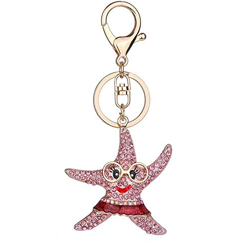 (Bling Starfish Rhinestone Keychain Women's Key Chain Handbag Purse Charms Gift)