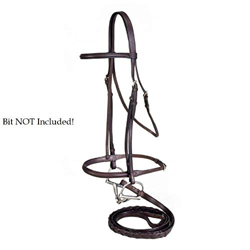 (Finn-Tack Silver Fox Raised Snaffle Draft English Traditional Style Browband Headstall Reins)