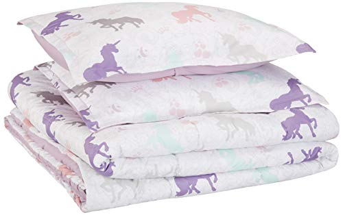 AmazonBasics Easy-Wash Microfiber Kid's Comforter and Pillow Sham Set - Full or Queen, Purple Unicorns
