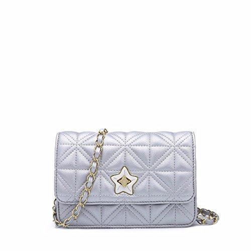 2018 nuevo Rhombus Satchel, personalidad de la moda Lock Chain Bag,Pink Plateado