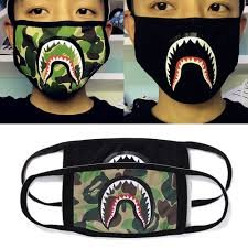 Pinnacle 3 PACK COTTON DUST MASK BAPE SHARK APE MOUTH FOR POLLON, DUST AND POLLUTION ALLERGIES