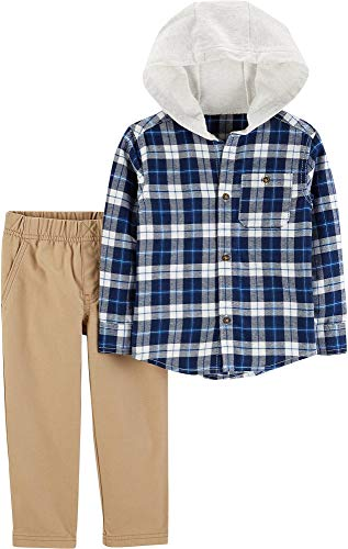 (Carters Toddler Boys Plaid Hooded Flannel Pants Set 4T Blue/White/Beige)