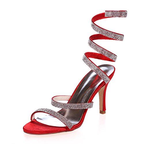 L@YC Zapatos De Boda De Las Mujeres Sandalias De Punta abierta Mediados De Bomba / Fiesta / Fiesta Noche Y MáS Colores Disponibles Red