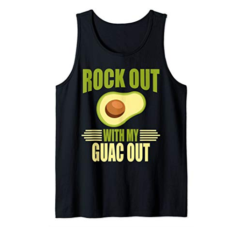 Men's Funny Rock Out With My Guac Out Tshirt Tank Top (Rock Out With My Guac Out T Shirt)