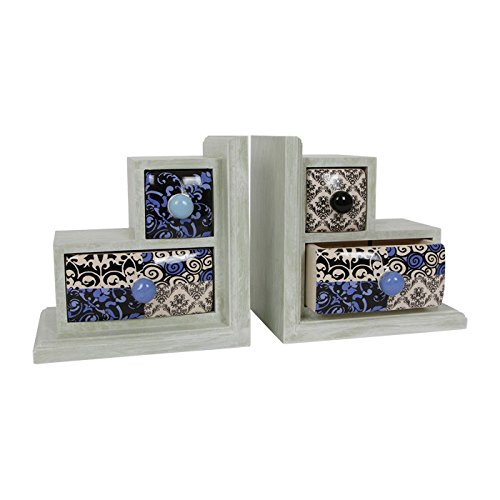 Set of 2 Decorative Bookends with ceramic drawers for storing pens, jewellery etc Legler 6093