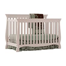 Stork Craft 04587-101 Carrara 4-In-1 Fixed Side Convertible Crib (White)