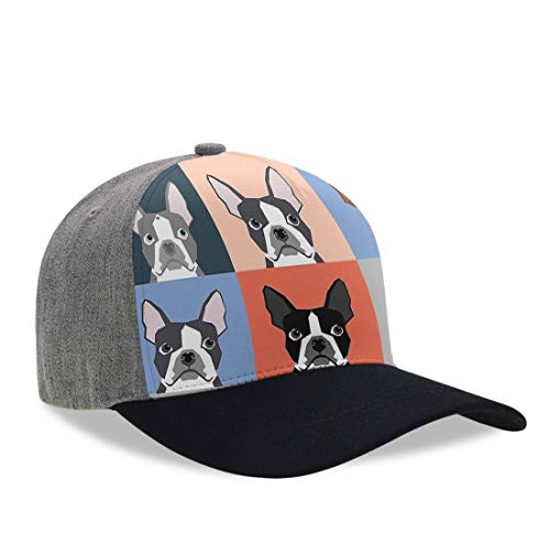 Summer Baseball Cap for Kids Children Toddlers - Moisture Wicking Breathable Team Armour Dad Cap Hip-Hop Golf Cap Relaxed Fit Fishing Cap, Boston Terriers Tile Bulldog Dog Set Pattern Hat ()