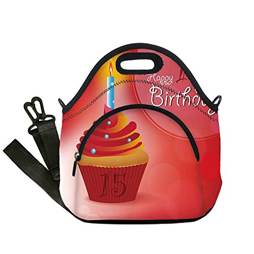 Insulated Lunch Bag,Neoprene Lunch Tote Bags,15th Birthday Decorations,Yummy Graphic Cupcake with Candlestick Stars Warm Ceremony,Red Orange Blue,for Adults and children