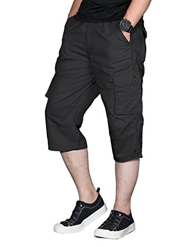 EKLENTSON 3/4 Pants Men Below Knee Cotton Classic Climbing Shorts Bermudas Capri Shorts Black