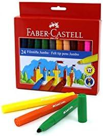 Faber Castell 554324 - Estuche de cartón con 24 rotuladores escolares Jumbo, multicolor: Amazon.es: Oficina y papelería