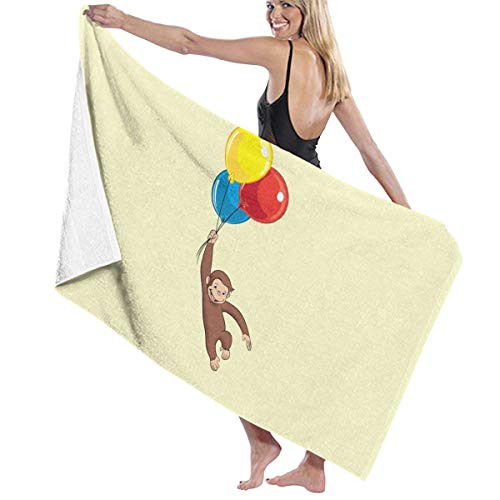 CLIMETO Curious George Beach Towels Ultra Absorbent Microfiber Bath Towel Picnic Mat for Men Women Kids White -