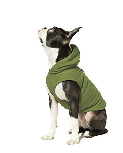 Gooby - Fleece Vest Hoodie, Small Dog Pull Over Hooded Fleece Jacket with Leash Ring, Green, Large