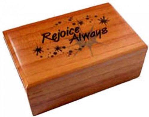 Shalom Christian Wooden Mahogany Rejoice Always Box Gift 9.5cm by Shalom