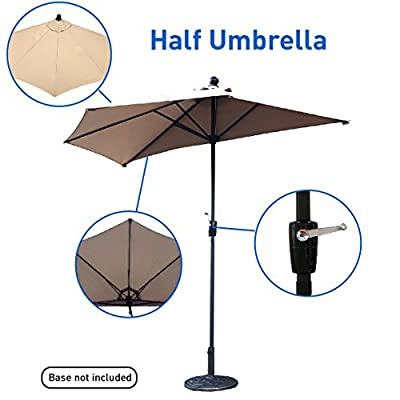 EasyGo – 9' Half Umbrella 200g Polyester Patio Outdoor Awning Hut Parasol with Crank 5 Steel Ribs Aluminum Pole – Beige
