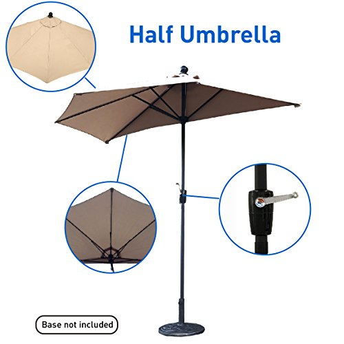 EasyGo – 9' Half Umbrella 200g Polyester Patio Outdoor Awning Hut Parasol with Crank 5 Steel Ribs Aluminum Pole – Beige Parasol Stand