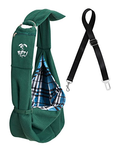 Pet Carrier Sling by Puppy Eyes | Ideal for small & medium dogs, cats or rabbits up to 17 lb. | 2 Bonuses: Seat Belt & Ebook | Adjustable shoulder strap & Reversible bag design | Extra Zippered pouch