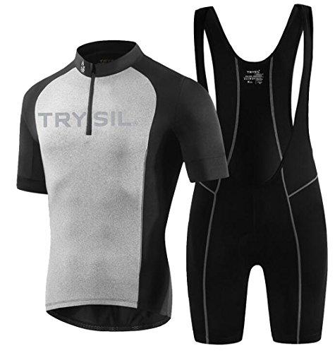 TTYLLMAO Men's Cycling Jersey and Bib Shorts Set Bicycle Bibs Shorts Black