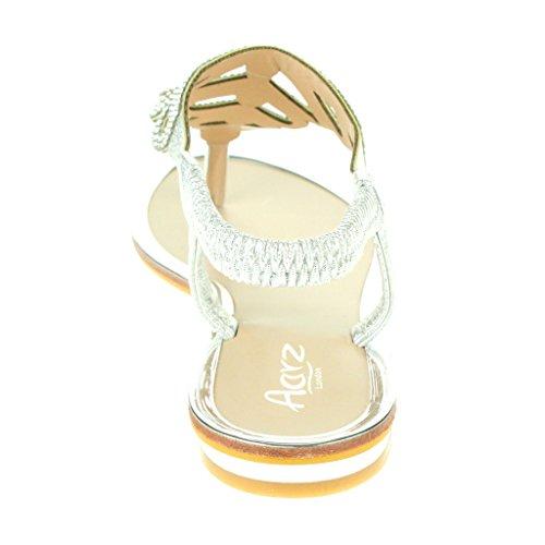 Post Plano Diamante Sandalias Punta Verano Casual Zapatos abierta Slingback Fiesta playa Tamaño Toe Comodidad Plata Mujer Señoras wO5qUt7x