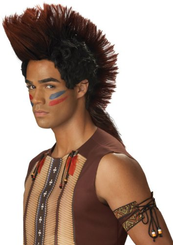 [California Costumes Men's Indian Warrior Wig, Auburn/Black, One Size] (Male Indian Costumes)