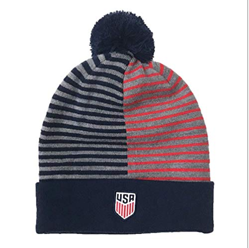 NIKE USA Stripe Knit Beanie (Midnight Navy/Sport Red) - Stripe Beanie Usa Classic