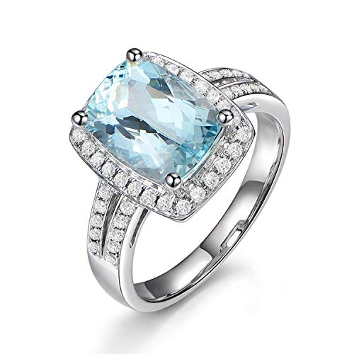 Aokarry - Womens Promise Rings Sterling Silver Anniversary Rings Blue Created-Topaz December Birthstone Size 10