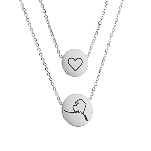 (State Pendant Necklace Alaska AK - Heart Disc Double Chain Stainless)