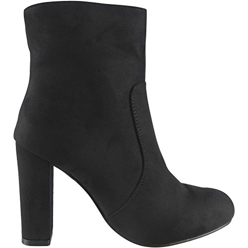 Womens Faux Suede High Block Heel Ankle Boots Size 3-8 Black GdoVGD