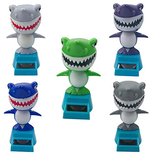 super1798 Cartoon Mini Cute Shark Solar Swing Car Auto Interior Dashboard Decoration Gift Blue by super1798 (Image #3)