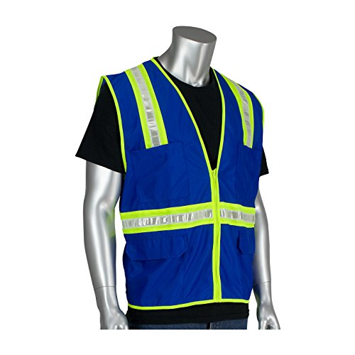 (PIP 300-1000 Blue XL Polyester Mesh High-Visibility Vest - 4 Pockets - Fits 52 in Chest - 28 in Length - 616314-18390 [PRICE is per EACH])