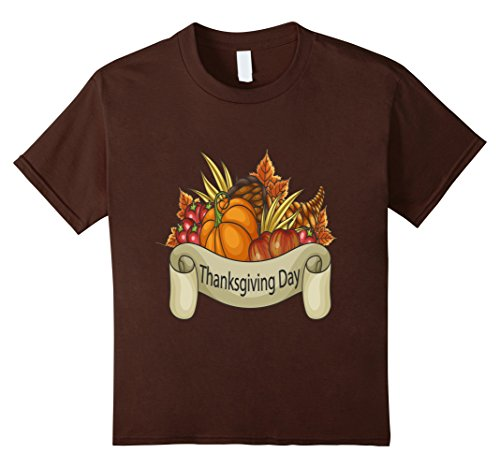Kids Thanksgiving Day, Bread, Food, Basket - T Shirt 12 Brown