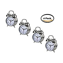 PACK OF 4 - Sharp Twinbell Quartz Analog Alarm Clock
