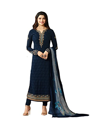 Ready Made Designer Indian Wear Straight Salwar Kameez Party Wear Timeless (Blue, XX-LARGE-46) (Blue Salwar Suit)