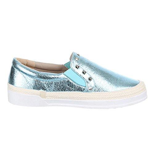 Ital-Design Damen Schuhe, 2311-Y, Halbschuhe Slipper mit Nieten Hellblau