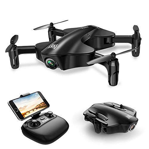 Drone Potensic, RC Drone Foldable with 720P HD Wi-Fi Camera Live Video Feed, Quadcopter with Wide-Angle Shot -Flight Route Setting, Optical Flow, Alarm System, VR Mode, Black(U29S) ()