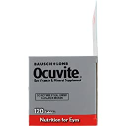 Bausch & Lomb Ocuvite Vitamin & Mineral Supplement Tablets with Lutein, 120-Count Bottles (Pack of 2)