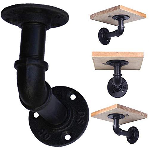 9OVE, Pipe Shelf Bracket, Iron Wall Mounted Metal Art, Hardware Rack Holder Decor 2Pcs - Black
