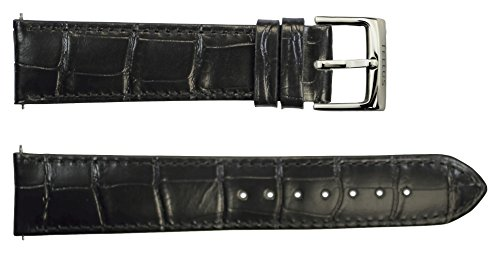 Tellus Quick Release Black Alligator Leather Band Replacement Pin Clasp, 20mm Strap - B20040 by Tellus