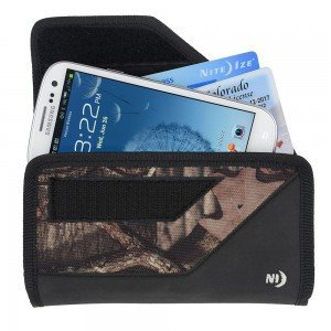Nite Ize Black/Camouflage Mossy Oak Sideways Horizontal Rugged Heavy Duty X-large Holster Pouch / Cover Case W/Durable Fixed Belt Clip Fits Google Pixel XL 5.5