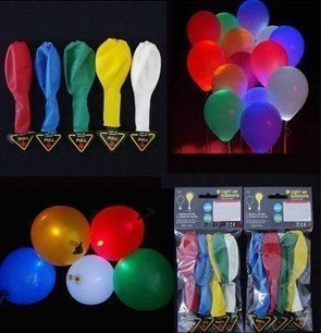 FUNLAVIE LED Light up Balloons Mixed Color Party Wedding Festival Decoration Five Color-300 Pieces