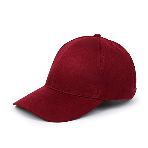 CUSFULL Soft Faux Suede Leather Baseball Cap Adjustable Classic Sports Hat-Wine Red ()