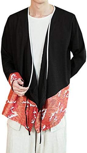 [YUNHEN]カーディガン メンズ 長袖 ゆったり 綿 麻 サマーコート 薄手 カジュアル 夏服 トップス 和式パーカー 大きいサイズ