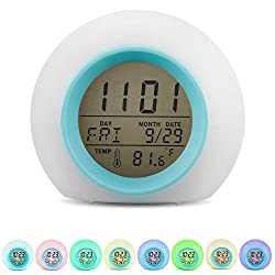 Besplore 7 Colors Changing Alarm Clock Nature Sounds One Tap Control Sleep-Friendly with Indoor Temperature Display for Working Parents,Students,Colorful