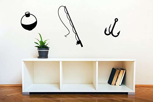 Wall Decor Plus More WDPM3505 Fishing Pole, Hook and Bobber Fishing Wall Decal Art Vinyl Sticker (Set of 3), Black (Fishing Wall Decals)