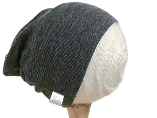 Pure Organic Merino Wool Knit Hat or Beanie Cap S 6-18 Months Charcoal